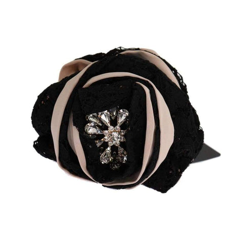 Dolce & Gabbana Pink Silk Black Lace Crystal Hair Claw