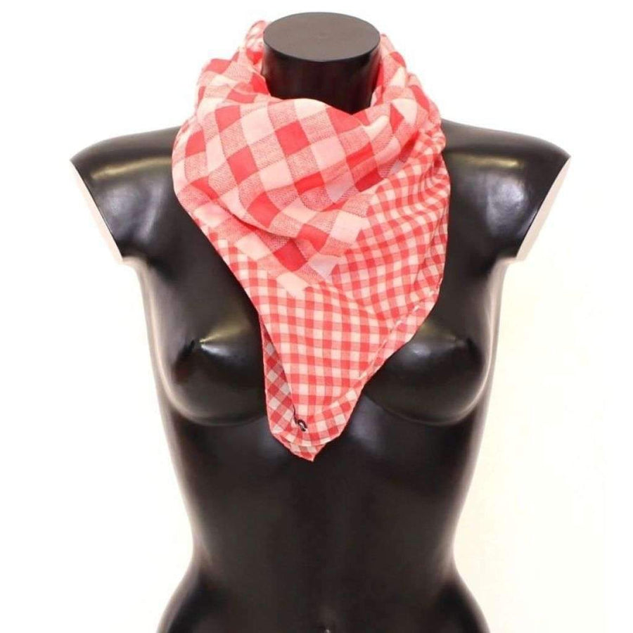 Dolce & Gabbana Red Checkered Cotton Scarf - Women - Accessories - Scarves - Dolce & Gabbana | Gethuda Fashion