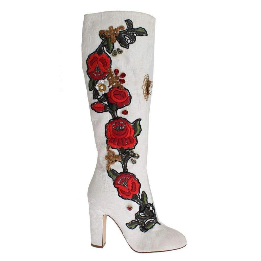 Dolce & Gabbana Roses Crystal Gold Heart Brocade Boots Shoes - Women - Shoes - Boots - Dolce & Gabbana | Gethuda Fashion