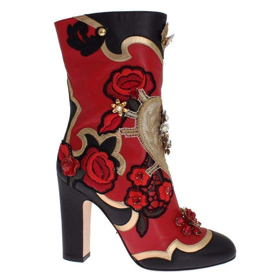 Dolce & Gabbana Roses Crystal Gold Heart Leather Boots Shoes - Women - Shoes - Boots - Dolce & Gabbana | Gethuda Fashion
