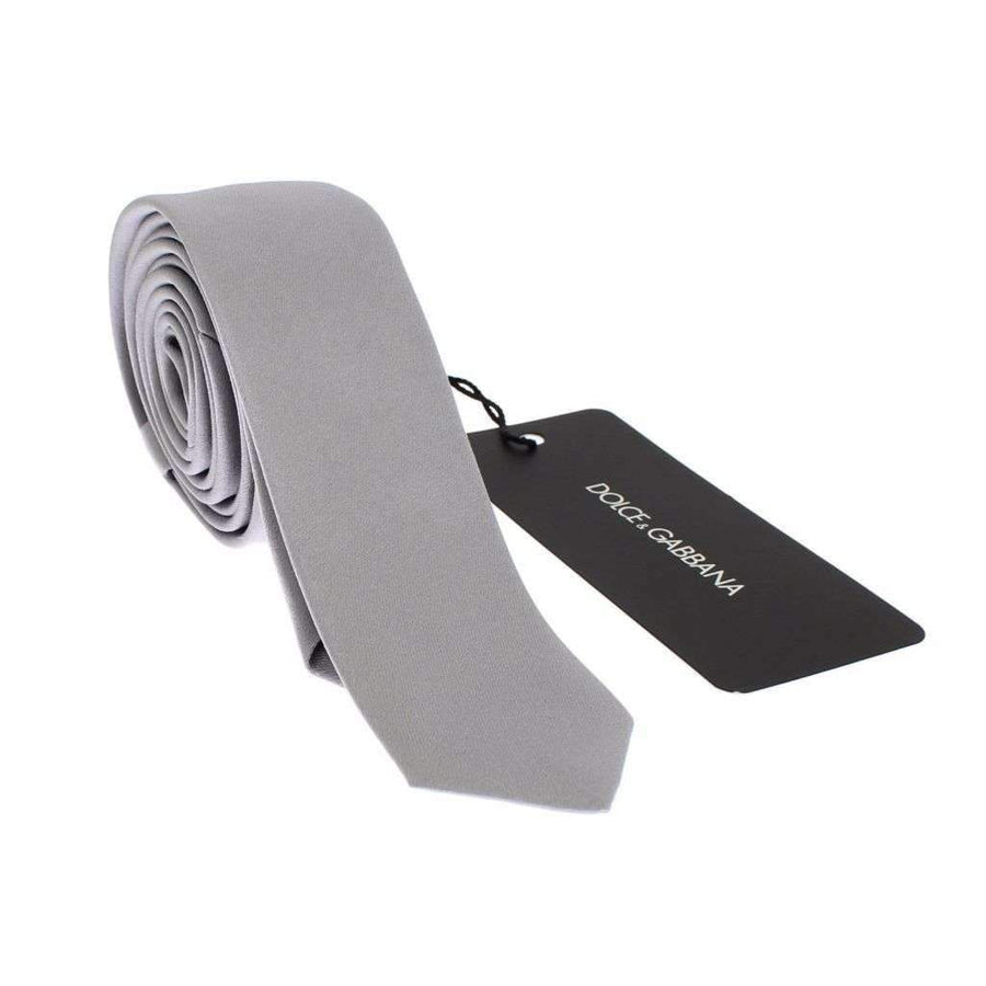 Dolce & Gabbana Silver Gray Solid Silk Slim Tie - Men - Accessories - Ties - Dolce & Gabbana | Gethuda Fashion