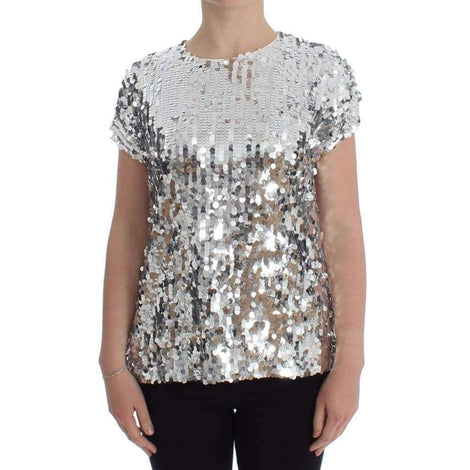 Dolce & Gabbana Silver Sequined Crewneck Blouse T-shirt Top - Women - Apparel - Shirts - T Shirts - Dolce & Gabbana | Gethuda Fashion