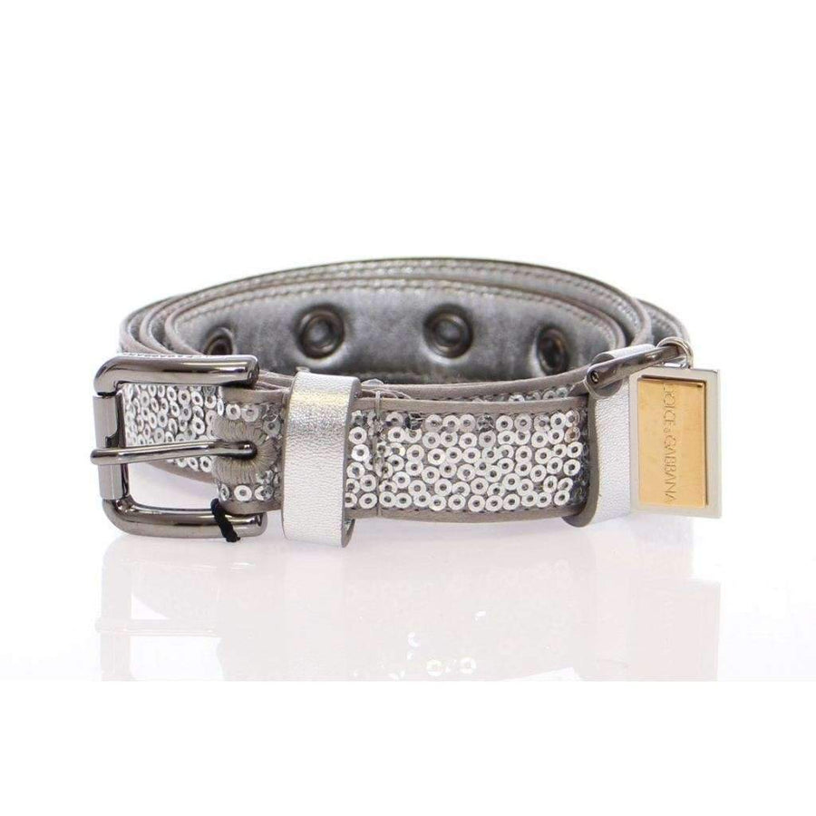 Dolce & Gabbana Silver Silk Sequined Silver Logo Belt - Women - Accessories - Belts - Dolce & Gabbana | Gethuda Fashion