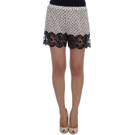 Dolce & Gabbana White Black Floral Lace Silk Sleepwear Shorts - Women - Apparel - Lingerie And Sleepwear - Underwear - Dolce & Gabbana | Gethuda Fashion