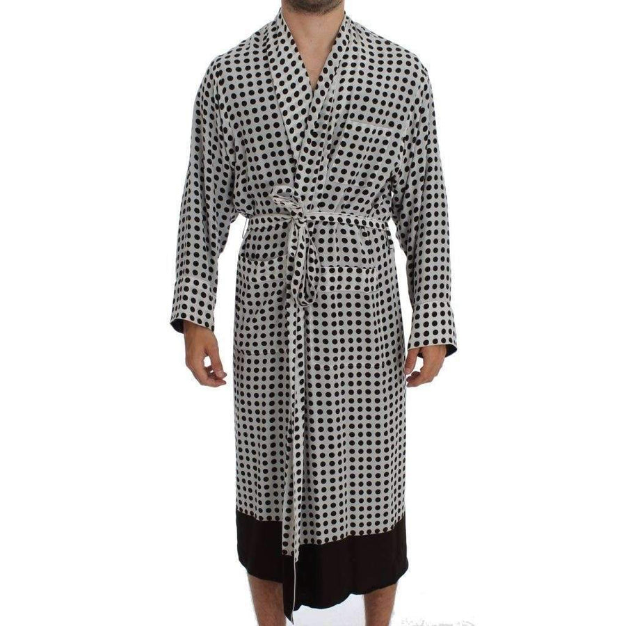 Dolce & Gabbana White Brown Polka SILK Robe Sleepwear Nightgown - Men - Apparel - Lingerie And Sleepwear - Pajama Sets - Dolce & Gabbana | Gethuda Fashion