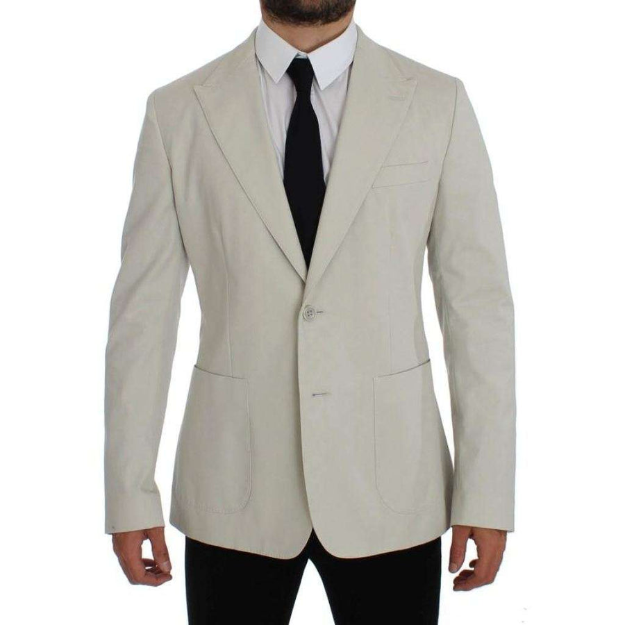 Dolce & Gabbana White Cotton Stretch Blazer Jacket