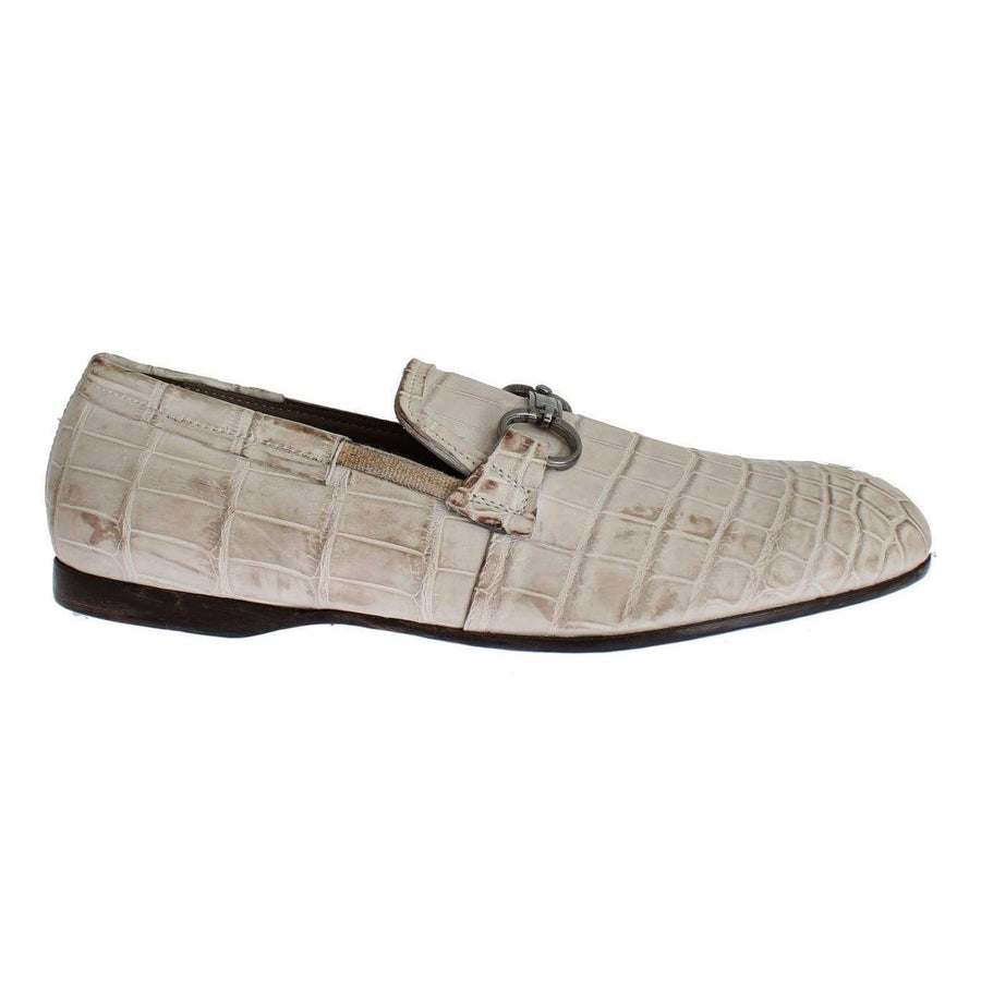 Dolce & Gabbana White Crocodile Loafers Dress Formal Shoes - Men - Shoes - Loafers Drivers - Dolce & Gabbana | Gethuda Fashion