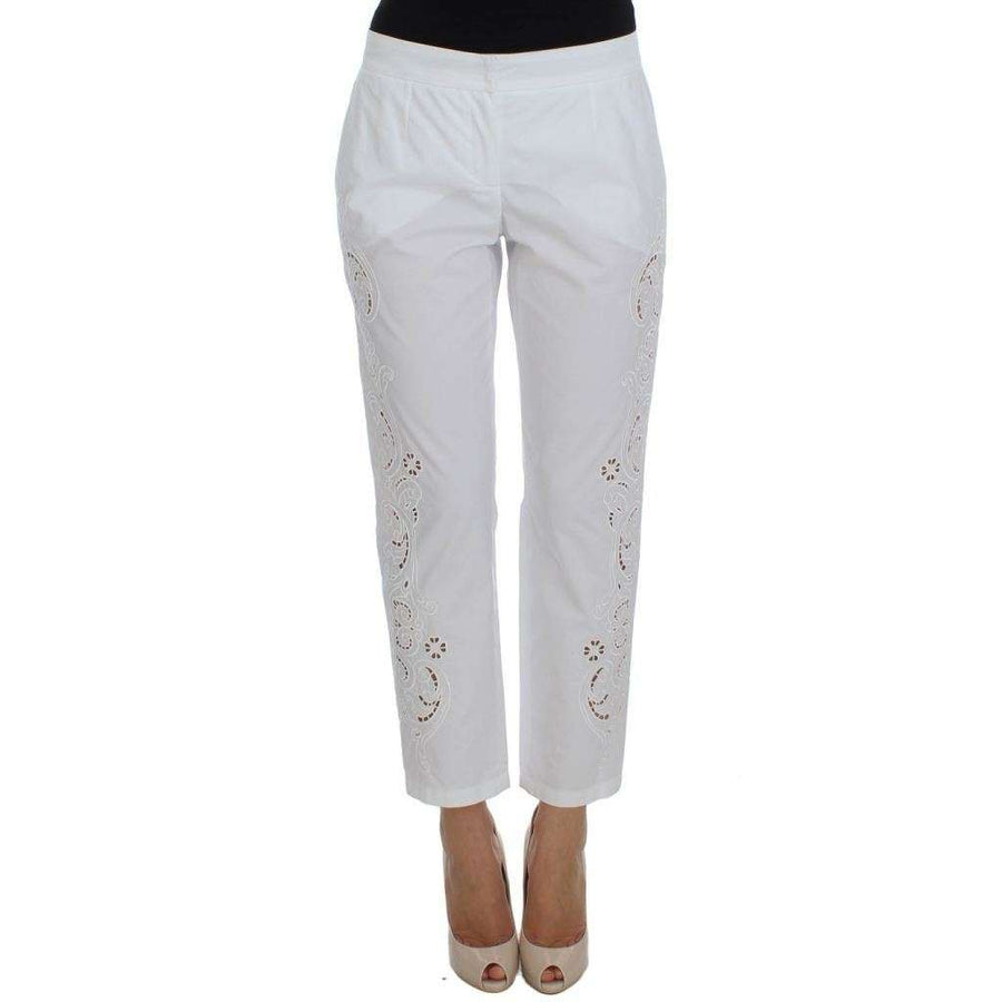 Dolce & Gabbana White Floral Cutout Dress Sicily Pants - Women - Apparel - Pants - Trousers - Dolce & Gabbana | Gethuda Fashion