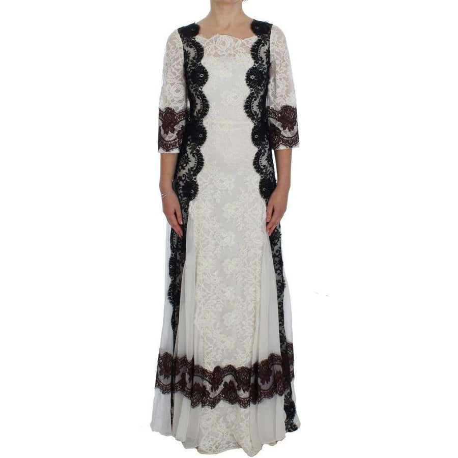 Dolce & Gabbana White Floral Lace Full Length Gown Dress - Women - Apparel - Dresses - Casual - Dolce & Gabbana | Gethuda Fashion