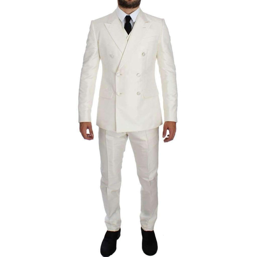 Dolce & Gabbana White Silk Double Breasted 3 Piece Suit - Men - Apparel - Suits - Classic - Dolce & Gabbana | Gethuda Fashion