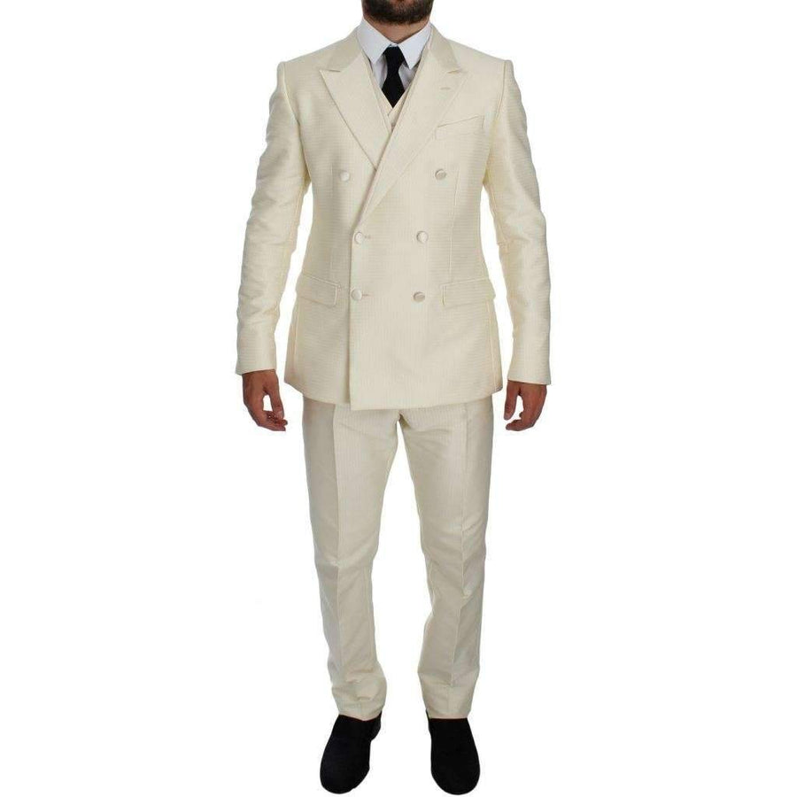 Dolce & Gabbana White Slim Double Breasted 3 Piece Suit - Men - Apparel - Suits - Classic - Dolce & Gabbana | Gethuda Fashion