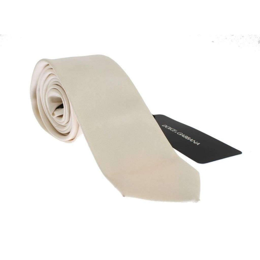 Dolce & Gabbana White Solid Silk Skinny Tie - Men - Accessories - Ties - Dolce & Gabbana | Gethuda Fashion