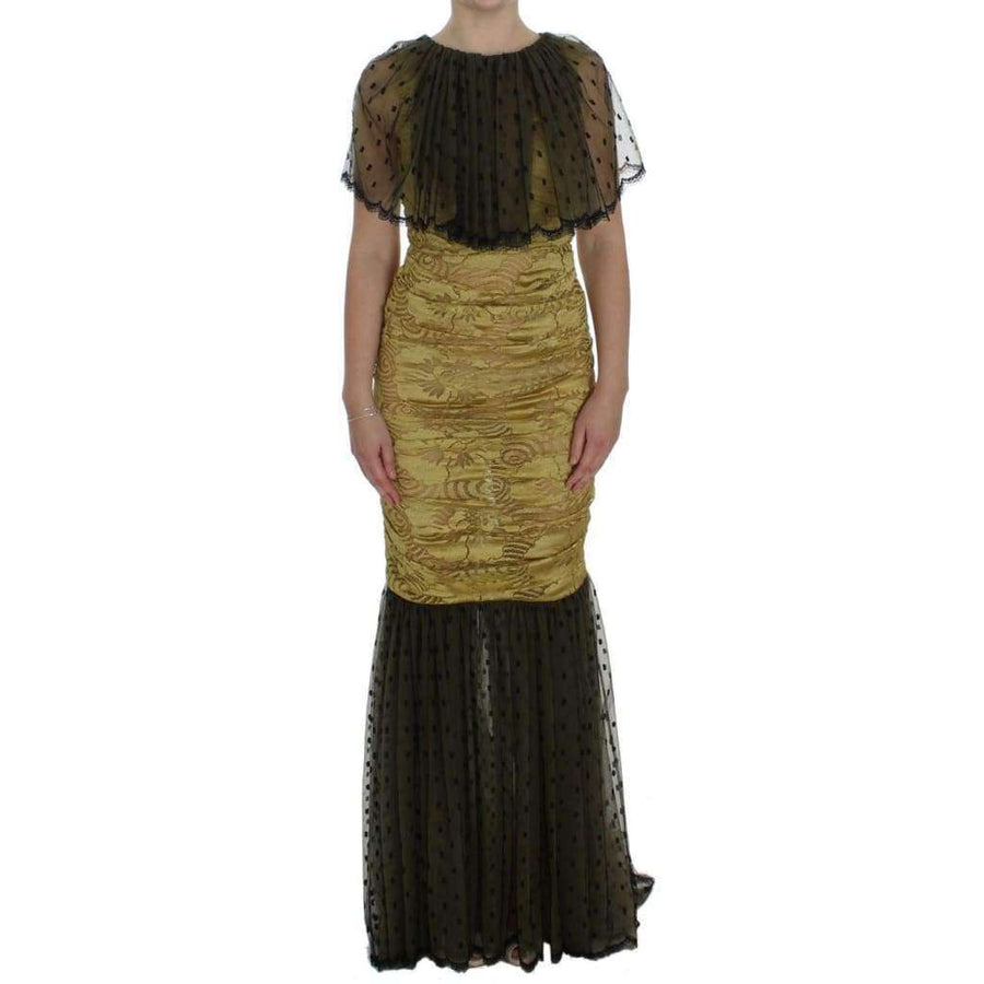 Dolce & Gabbana Yellow Black Floral Lace Ricamo Gown Dress - Women - Apparel - Dresses - Casual - Dolce & Gabbana | Gethuda Fashion