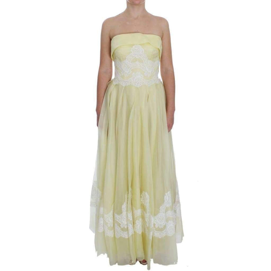 Dolce & Gabbana Yellow White Lace Silk Maxi Gown Dress