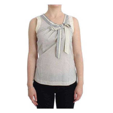 Beachwear Striped Top Blouse Shirt Bow Tank - Women - Apparel - Shirts - Blouses - Ermanno Scervino | Gethuda Fashion