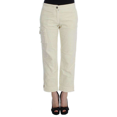 Beige Cotton Capri Cropped Cargo Pants - Women - Apparel - Pants - Trousers - Ermanno Scervino | Gethuda Fashion