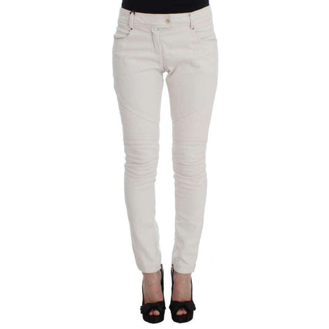 Beige Cotton Slim Fit Denim Jeans - Women - Apparel - Denim - Jeans - Ermanno Scervino | Gethuda Fashion