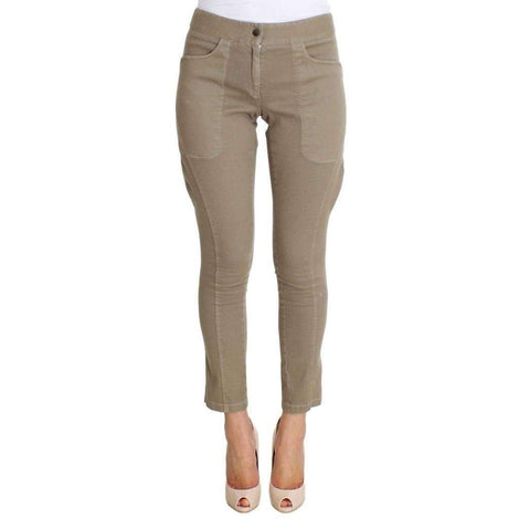 Beige Cotton Stretch Cropped Pants - Women - Apparel - Denim - Jeans - Ermanno Scervino | Gethuda Fashion