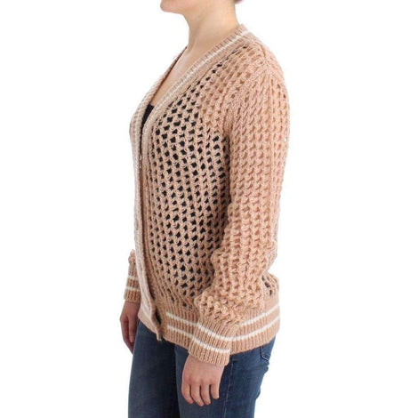 Beige Crochet Cardigan Mohair Sweater Knit - Women - Apparel - Sweaters - Pull Over - Ermanno Scervino | Gethuda Fashion