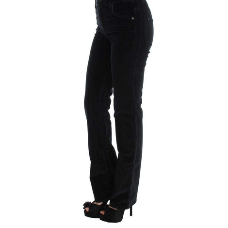 Black Cotton Blend Slim Fit Bootcut Casual Pants - Women - Apparel - Pants - Trousers - Ermanno Scervino | Gethuda Fashion