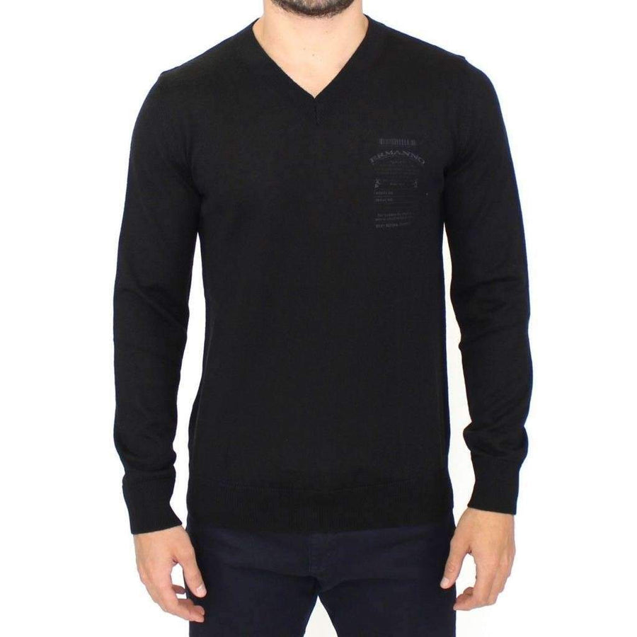 Black Wool Blend V-neck Pullover Sweater - Men - Apparel - Sweaters - Pull Over - Ermanno Scervino | Gethuda Fashion