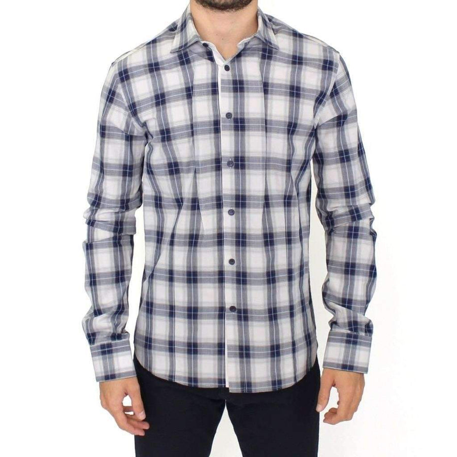 Blue Checkered Cotton Casual Shirt Top - Men - Apparel - Shirts - Dress Shirts - Ermanno Scervino | Gethuda Fashion