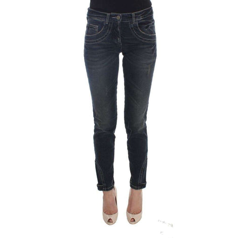 Blue Cotton Blend Slim Fit Jeans - Women - Apparel - Denim - Jeans - Ermanno Scervino | Gethuda Fashion