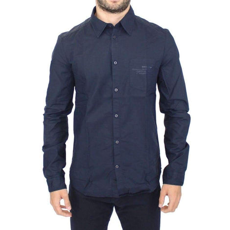 Blue Cotton Casual Long Sleeve Shirt Top - Men - Apparel - Shirts - Dress Shirts - Ermanno Scervino | Gethuda Fashion