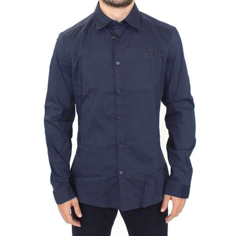 Blue Stretch Cotton Casual Long Sleeve Shirt - Men - Apparel - Shirts - Dress Shirts - Ermanno Scervino | Gethuda Fashion