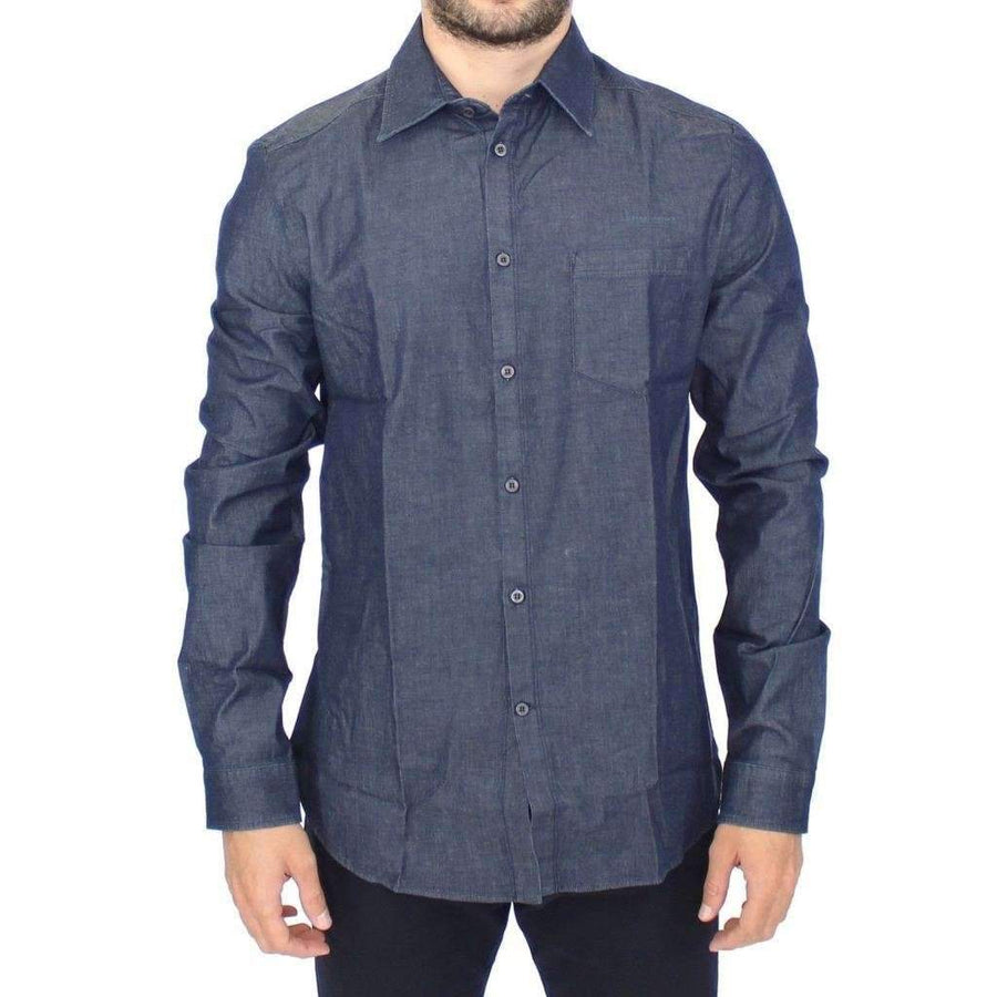 Blue Stretch Denim Jeans Cotton Casual Shirt - Men - Apparel - Shirts - Dress Shirts - Ermanno Scervino | Gethuda Fashion