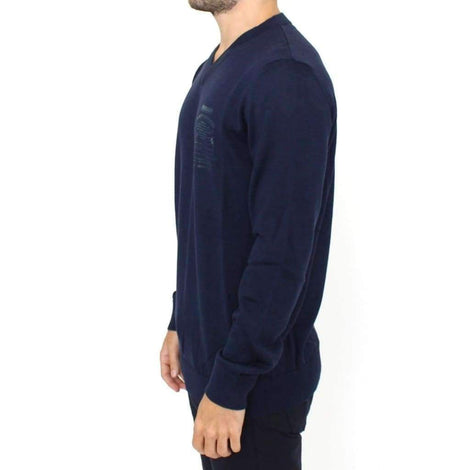Blue Wool Blend V-neck Pullover Sweater - Men - Apparel - Sweaters - Pull Over - Ermanno Scervino | Gethuda Fashion