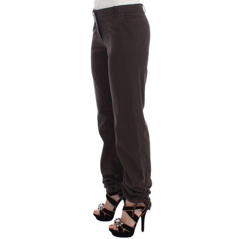 Brown Chinos Casual Dress Pants Khakis - Women - Apparel - Pants - Trousers - Ermanno Scervino | Gethuda Fashion