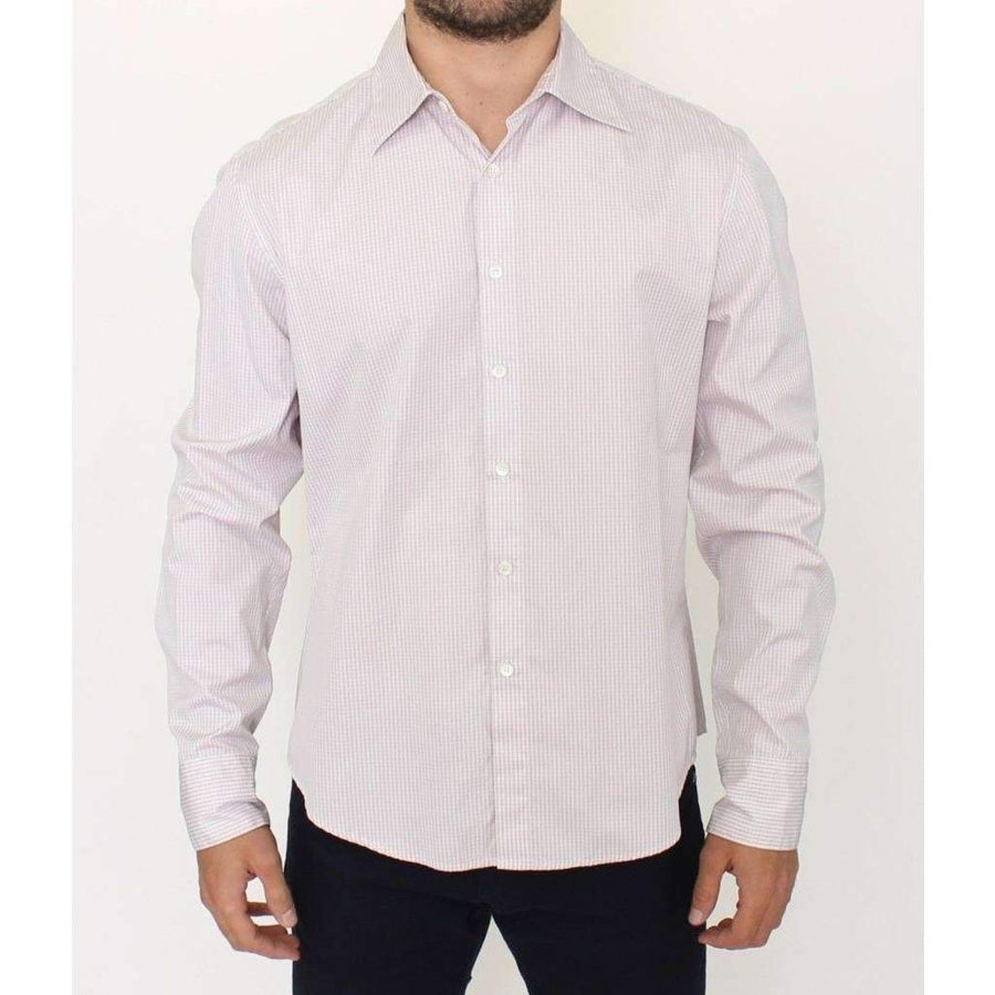 Gray White Checkered Casual Long Sleeve Shirt - Men - Apparel - Shirts - Dress Shirts - Ermanno Scervino | Gethuda Fashion