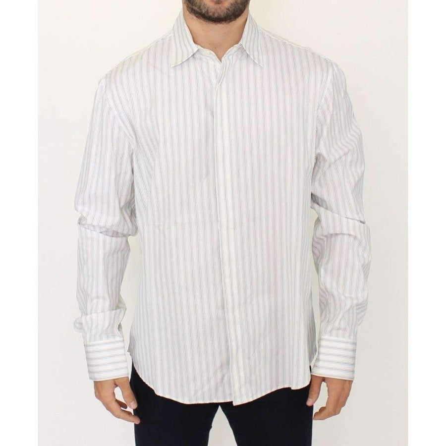 White Black Striped Regular Fit Casual Shirt - Men - Apparel - Shirts - Dress Shirts - Ermanno Scervino | Gethuda Fashion