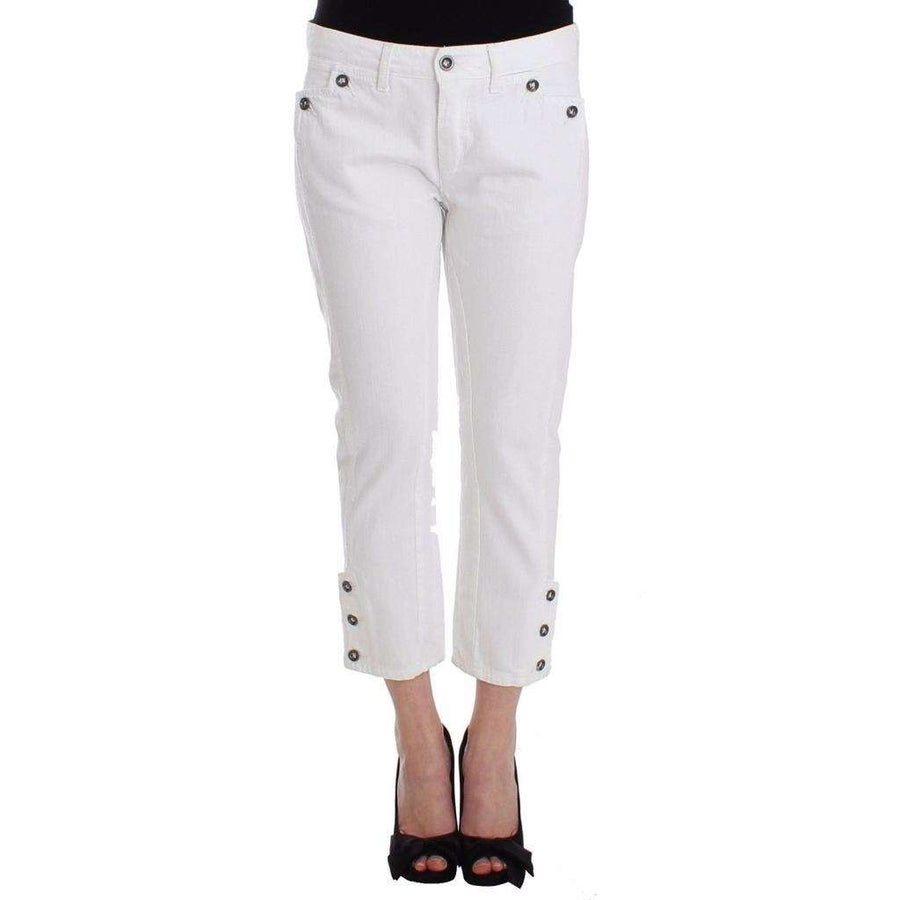 White Cropped Jeans Denim Pants Branded Capri - Women - Apparel - Denim - Jeans - Ermanno Scervino | Gethuda Fashion
