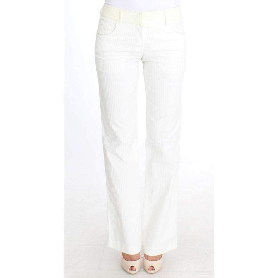 White Striped Straight Fit Pants - Women - Apparel - Denim - Jeans - Ermanno Scervino | Gethuda Fashion