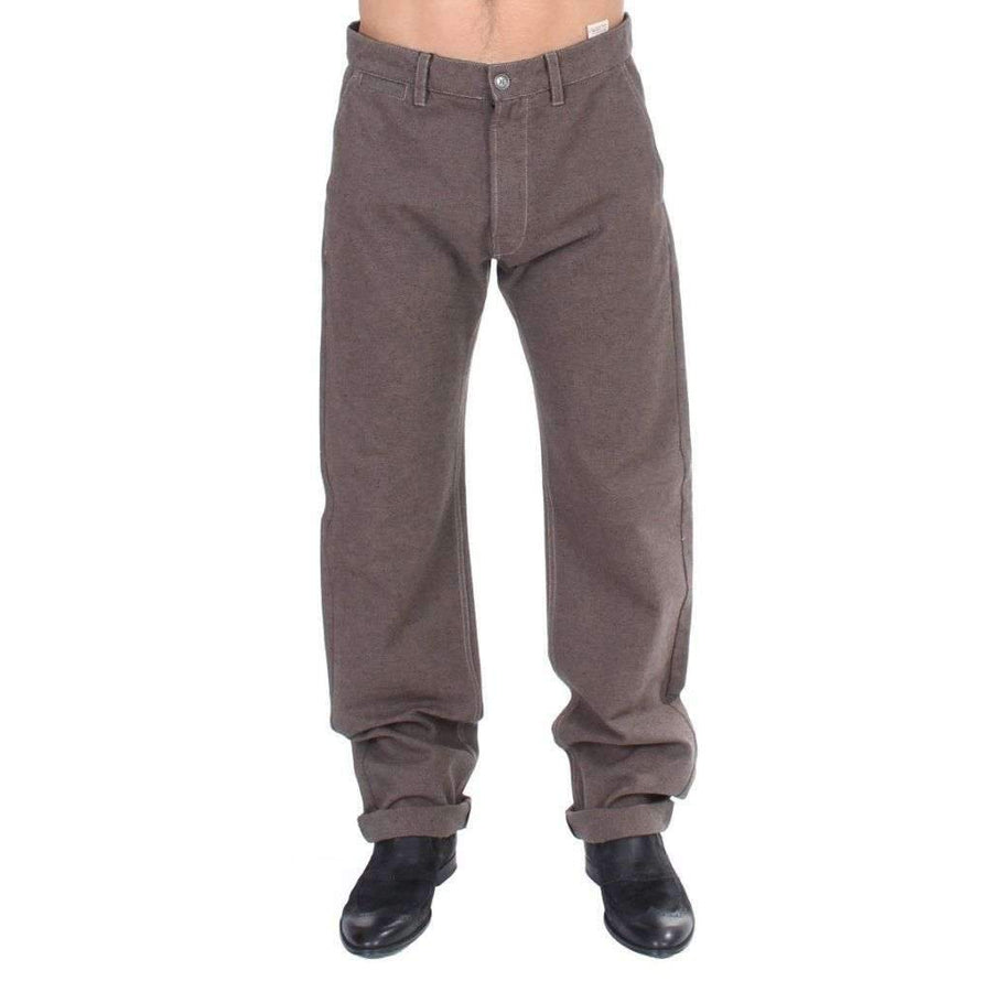 Brown Cotton Regular Fit Casual Pants - Men - Apparel - Trousers - GF Ferre | Gethuda Fashion