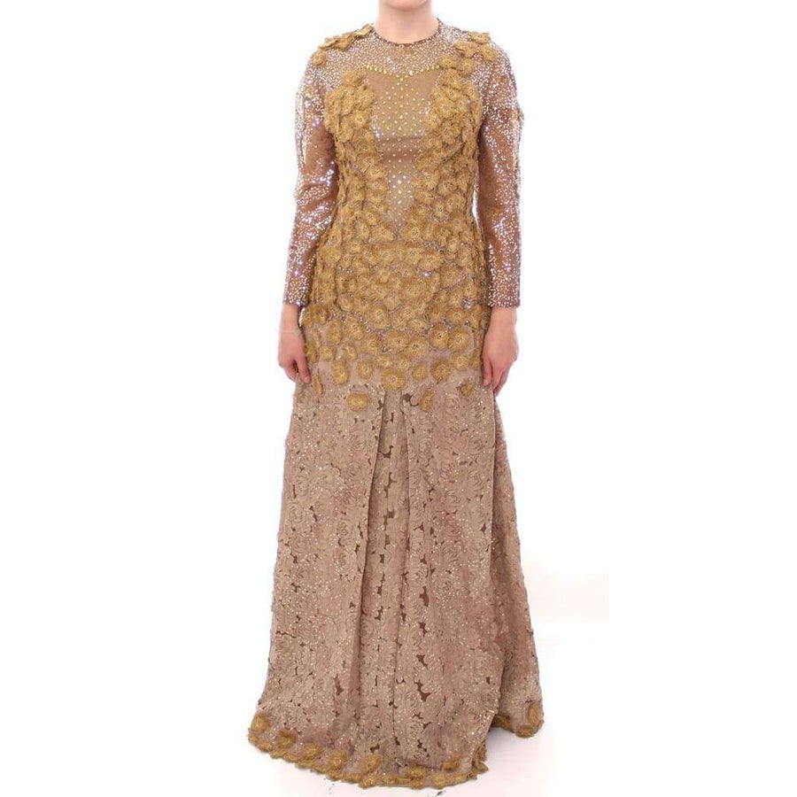 GOLD Long Lace Maxi Crystal Dress - Women - Apparel - Dresses - Casual - Lanre Da Silva Ajayi | Gethuda Fashion