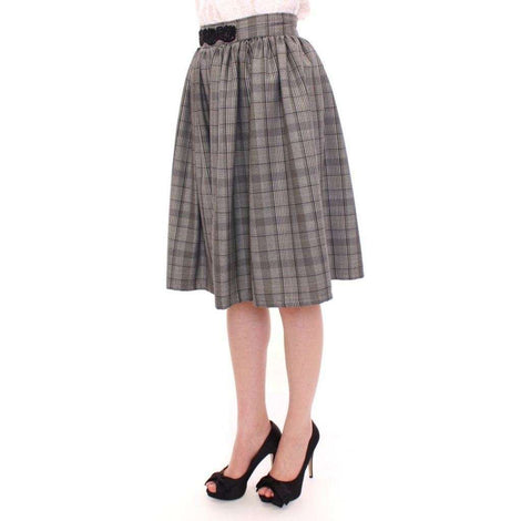 Gray Checkered Wool Shorts Skirt - Women - Apparel - Skirts - Knee Length - NOEMI ALEMÁN | Gethuda Fashion