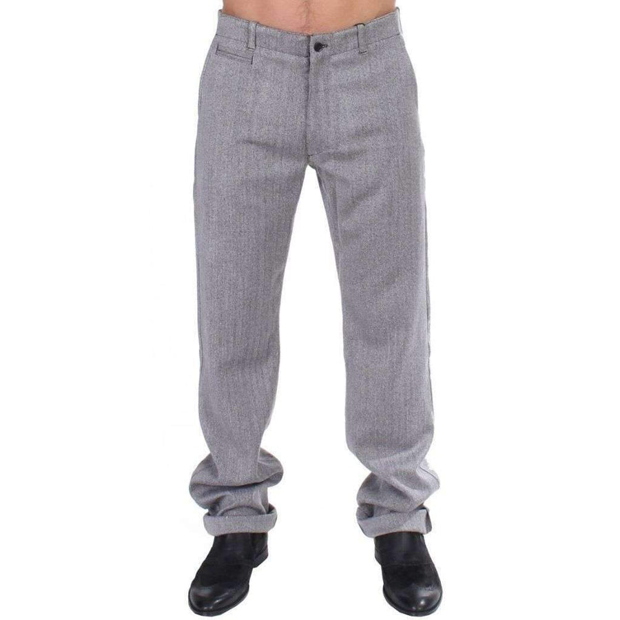 Gray Stretch Regular Straight Fit Pants - Men - Apparel - Trousers - GF Ferre | Gethuda Fashion