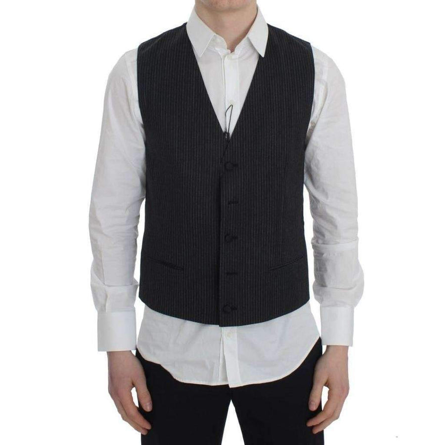 Dolce & Gabbana Gray Striped Formal Vest - Men - Apparel - Suits - Vest - Dolce & Gabbana | Gethuda Fashion