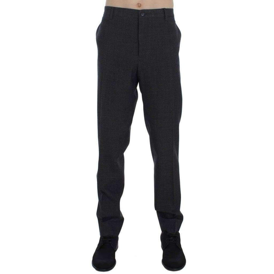 Dolce & Gabbana Gray Wool Cotton Dress Formal Pants - Men - Apparel - Trousers - Dolce & Gabbana | Gethuda Fashion