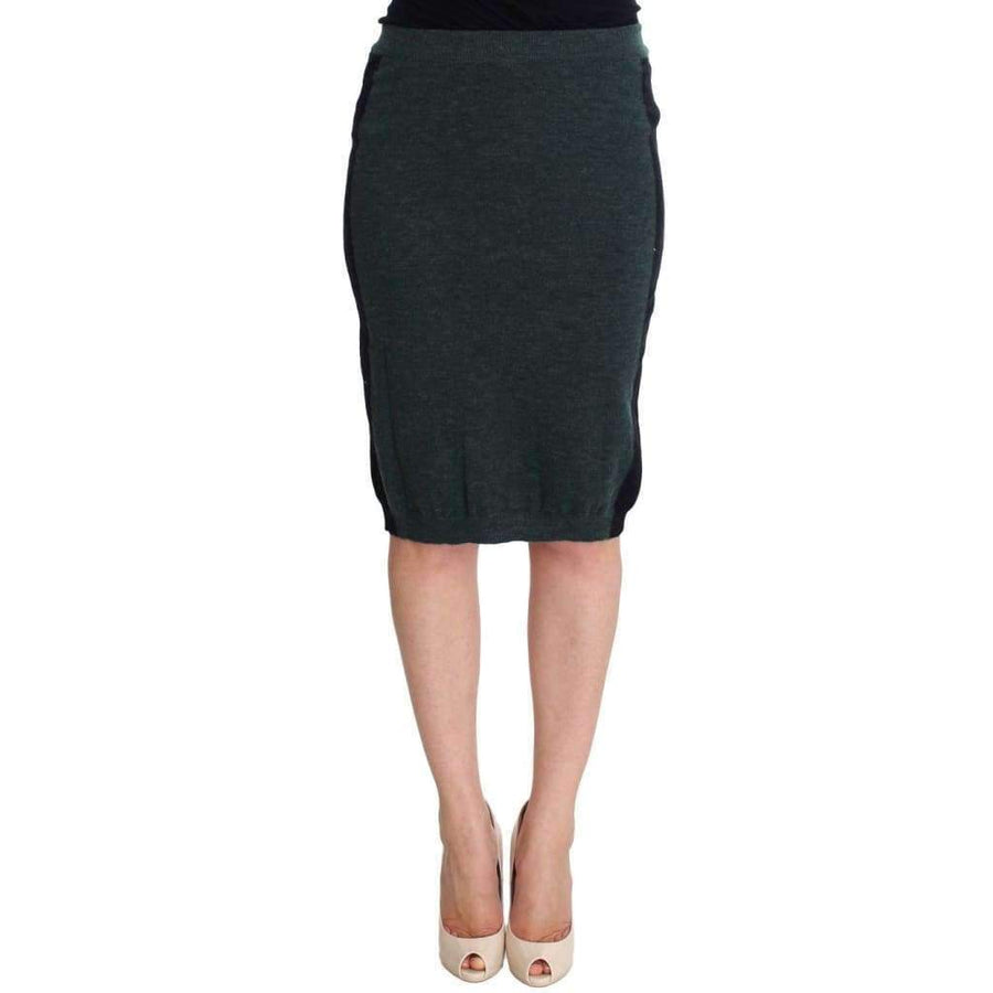 Green Wool Blend Pencil Skirt - Women - Apparel - Skirts - Pencil - MILA SCHÖN | Gethuda Fashion