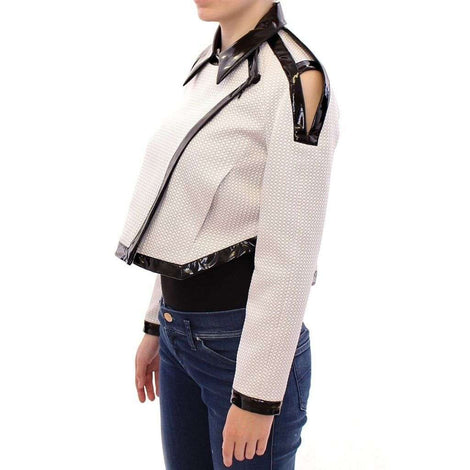 White Black Zipper Closure Cropped Jacket - Women - Apparel - Outerwear - Jackets - Koonhor | Gethuda Fashion