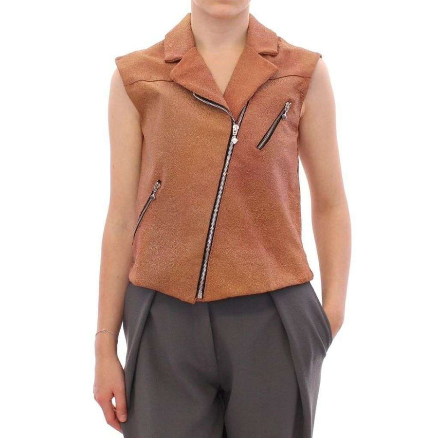 Brown Leather Jacket Vest - Women - Apparel - Outerwear - Jackets - La Maison du Couturier | Gethuda Fashion