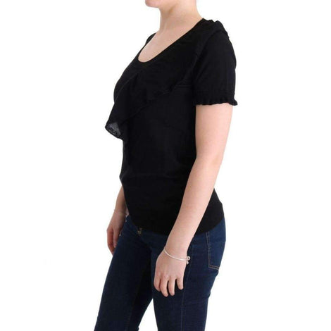 Black 100% Lana Wool Top Blouse T-shirt - Women - Apparel - Shirts - T Shirts - MARGHI LO' | Gethuda Fashion