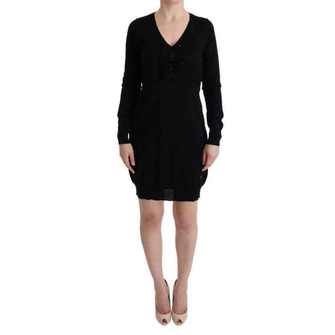 Black Wool Long Sleeve Shift Dress - Women - Apparel - Dresses - Casual - MARGHI LO' | Gethuda Fashion