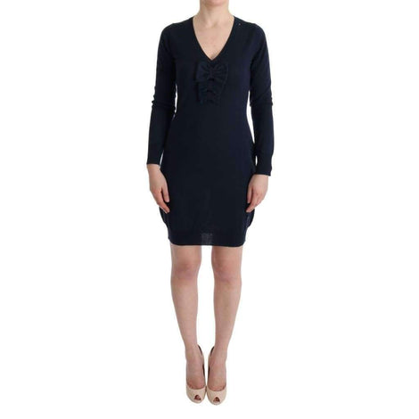 Blue Wool Long Sleeve Shift Dress - Women - Apparel - Dresses - Casual - MARGHI LO' | Gethuda Fashion