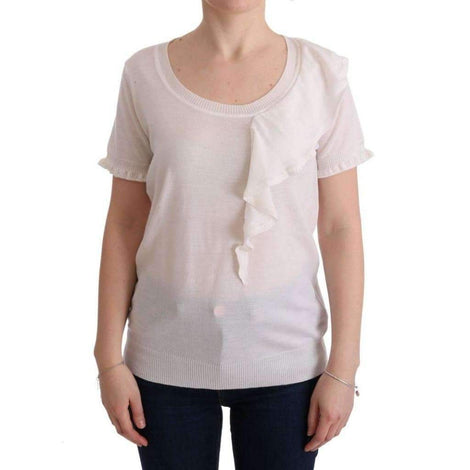 White 100% Lana Wool Top Blouse T-shirt - Women - Apparel - Shirts - T Shirts - MARGHI LO' | Gethuda Fashion