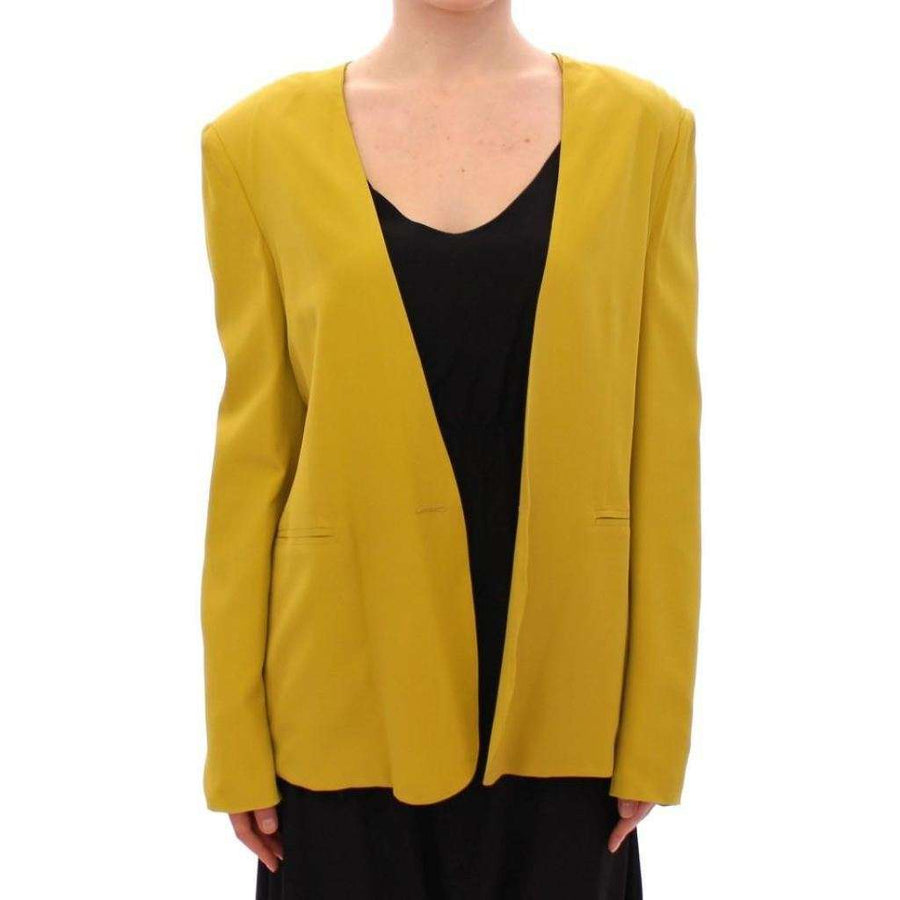 Mustard Yellow Silk Blazer Jacket - Women - Apparel - Suits - Classic - Lamberto Petri | Gethuda Fashion